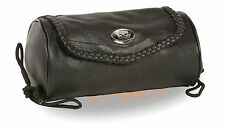 Small Soft Genuine Leather Motorcycle Tool Bag Pouch - Milwaukee Black - Braided
