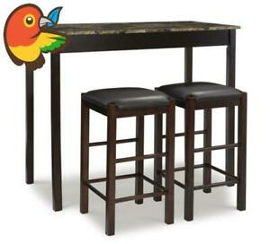 """Tavern Collection 3-Piece Table Set with 25"""" Stools, Espresso GREAT DEAL"""