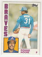 DONNIE MOORE 1984 Topps #207 Atlanta Braves Error Variation Oddball Blank Back