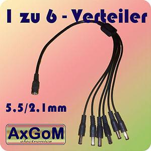 1 zu 6 Verteiler DC - Hohlbuchse/Hohlstecker 5,5/2,1 - Splitter-Kabel