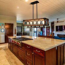 Industrial Kitchen Island Light Wood Chandelier Pendant Ceiling Fixture 5 Lights