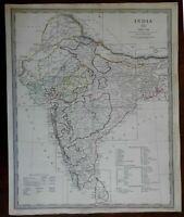India British Raj European Colonies Sindh Nepal 1835 SDUK detailed antique map