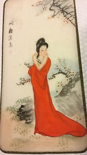Vintage GEISHA Cherry Blossoms Signed Painted silk Painting Asian Oriental Art