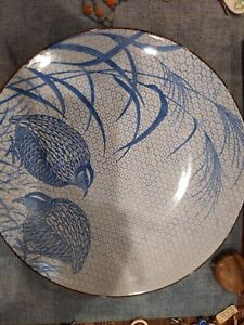Sometime Chinoiserie Blue White Quail Bird Ceramic 12 Inch Charger Plate