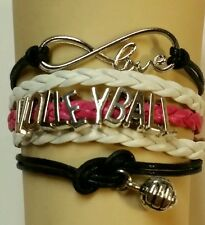 VOLLEYBALL LEATHER CHARM BRACELET - WHITE/BLACK/PINK ADJUSTABLE-SPORTS#150