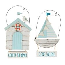 Set of 2 Seaside Sayings Wooden Hanging Signs Plaques Nautical Beach Coastal