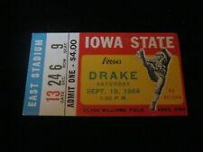 Iowa State vs Drake 1964 Clyde Williams field ticket stub
