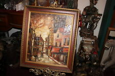 Vintage Original Oil Painting-Dark Gloomy Village Houses People Walking-Signed