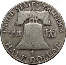1951 Benjamin Franklin Silver Half Dollar United States Coin Liberty Bell i44589