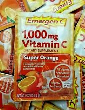 Emergen-C Vitamin C 1000mg Drink Mix Packets Super Orange 2021+ (100 pk Bulk)