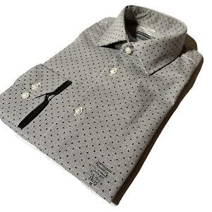 GEOFFREY BEENE Size M 15 - 15 1/2 34/35 Regular FIT Printed Shirt Rock Gray NWT