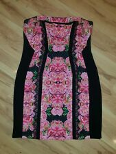 City Chic Size M 18 Black Pink Strapless Dress Floral Lace Plus Size BNWOT