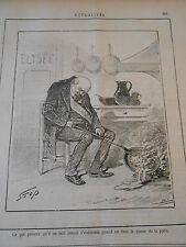 Caricature 1887 - Ne jamais s'endormir avec la queue de la Poèle