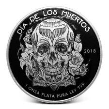 2018 - 1 oz Black Stenci Dia De Los Muertos Domed .999 Fine Silver Round in Cap.