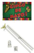3x5 Cinco De Mayo Flag White Pole Kit Set 3'x5'