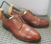 Allen edmonds mens lexington Brown Medallion Cap Toe Lace dress Shoes Sz 7.5D