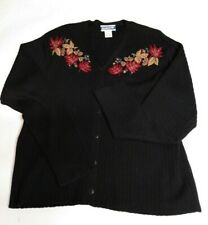 Vintage Pendleton Women's Sweater M Black Cardigan Embroidered Leaves Wool Blend