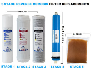 5 Stage RO & DI System Replacement Filters Set Pre Filters Resin Membrane Aquati