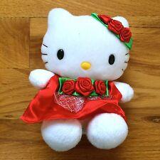 "RARE Hello Kitty w/ Red Rose Dress Stuffed Plush Doll Toy by Nakajima 6"""