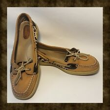 SPERRY Top-Sider Angelfish Pony Hair Leopard Print Sz 8.5 Boat Shoe
