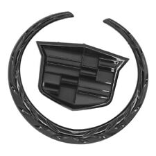 "Black CADILLAC Front Grille Hood 6"" Emblem Ornament Badge Logo Symbol Glossy"