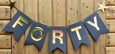 40TH BIRTHDAY BUNTING FORTY PARTY BANNER BLACK AND GOLD