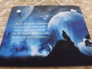 Wolf wall hanging , positive saying on wall plaque , wolf design on wall hanging