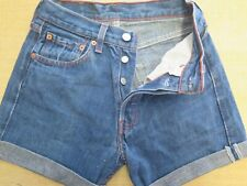 "+ VINTAGE + LEVI 501 BLUE DENIM SHORTS SIZE 6/8 W27"" HIGH WAIST/CUT OFF"