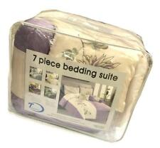 Closeout 7 Piece Embroider Purple & Beige Comforter Set Bed in Bag - Queen Size