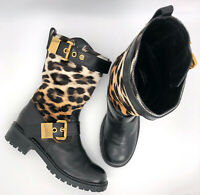 Giuseppe Zanotti Authentic Ombré Leopard Calf Hair Moto Boots 38 US 8 $1750