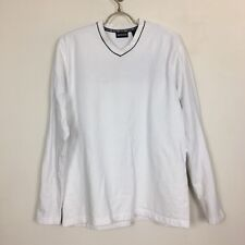 Vintage Bass Long Sleeve Tee Mens Size Large V Neck White 100% Cotton Red Stripe