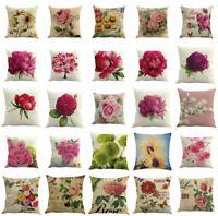 Floral Cotton Linen Square Home Throw Pillow Case Sofa Waist Cushion Cover Decor