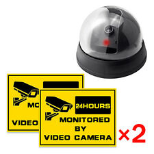 Fake Surveillance CCTV Security Dummy Dome Camera Flash Red LED Light+2 Stickers