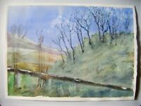 "Original Unsigned Watercolour Painting ~ Trees Hillside Valley ~14.5"" x 10.25"""
