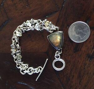 Artist Handmade Sterling Labradorite and Citrine Toggle Link Bracelet