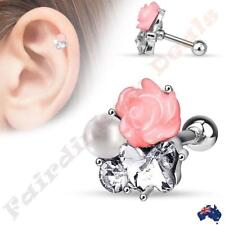 Silver Ion Plated Tragus/Cartilage Stud with CZ Pearl & Pink Fimo Flower Cluster