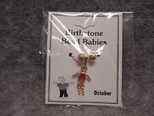 October Baby Birthstone Bead Babies Necklace Pendant Gold Tone & Rhinestone