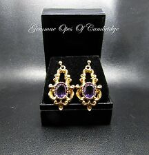 Vintage 9ct Gold Ornate Amethyst Earrings  9.3g Rococo Style