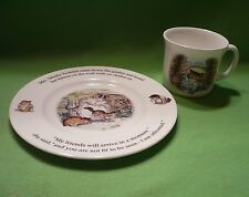 Set of 2 Royal Doulton Beatrix Potter Tabitha Twitchit plate & Tom Kitten cup.