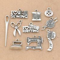 10pcs Mix Antique Silver Sewing Needle Scissor Charm for Jewelry Making DIY