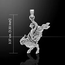 Cowboy Bull Rider Country Western Sterling Silver Pendant by Peter Stone Jewelry