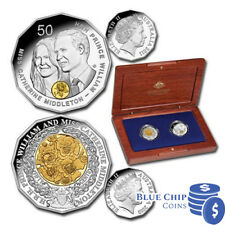 2011 ROYAL WEDDING SELECTIVELY GOLD PLATED SILVER PROOF TWO COIN SET