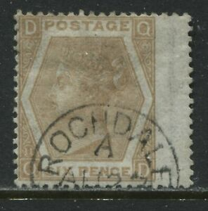 1872 6d pale buff Plate 11 QD used with part Rochdaie CDS