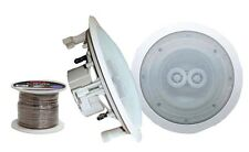 """NEW Pyle Pair of 8"""" In-Ceiling Dual Channel Weather Proof Speakers + 100ft Wire"""