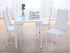 Modern Glass Dining Table and 4/6 Faux Leather Chairs Black/White Home Furniture