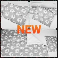 Baby cot bed bedding set baby blanket nursery and pillow grey elephant white