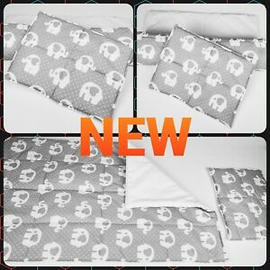 Baby bedding set SMALL  baby blanket nursery and pillow grey elephant white