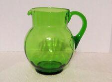 Hand Blown Green Glass Pitcher Pontil & Applied Handle for Lemonade, Margaritas