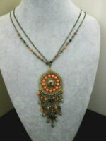 Gold Tone Coral Rhinestone Pendant Necklace Tribal Etnic Boho Festival Necklace