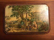 Victorian Era Post Card Print Family & Mastiff Near Plantation Home Cork Mounted